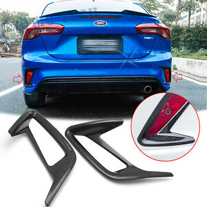 Carbon Fiber Style Rear Fog Reflector Lamp Cover Trims For Ford Focus 2019 2020