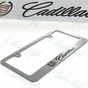 Cadillac Logo Chrome Plated Brass Metal License Plate Frame With Caps Authentic