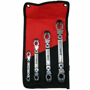 Ratcheting Flare Nut Brake Line Wrench Sae Double Flex Set Of 4