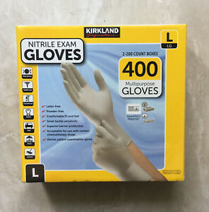 2 X 200 Kirkland Signature Disposable Nitrile Exam Gloves 400 Count Large