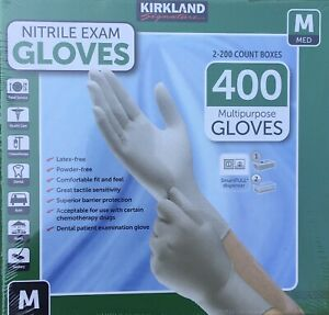 2 X 200 Kirkland Signature Disposable Nitrile Exam Gloves 400 Count Medium