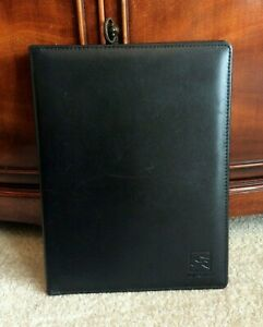 Blk Full Grain Leather Writing Note Pad Folio Portfolio Holder Folder Cover Case