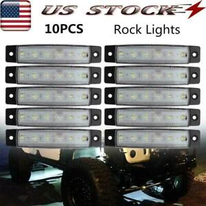 White Led Rock Light 10 Pods Lights For Off Road Truck Auto Atv Suv Under Wheel