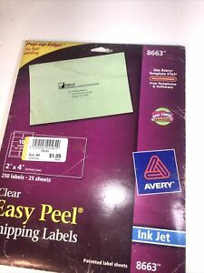 Avery Clear Easy Peel Shipping Labels Inkjet 2 X 4 250 pack 072782086633