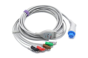 Datex Ohmeda Ecg Cable S5 Cardiocap 10 Pin 5 Leads Grabber Same Day Shipping