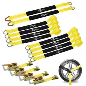 New Tire Basket Straps Wrecker Car Hauler Truck Tow Tire Wheel Tie Down 4 Pack