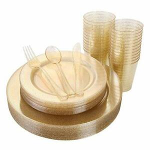 150 Pieces Gold Disposable Plates Plastic Silverware Cups Gold Glitter Dinn