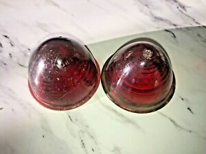 Vintage Tail Light Lens Lot 2 Kd Lamp Red Glass 501 Beehive Dome 2 3 8