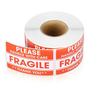 100 200pcs Fragile Label Stickers Handle With Care Warning Signs Shipping Tags