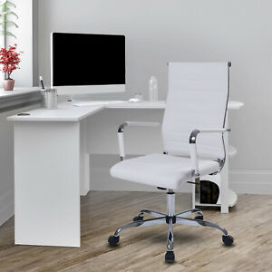 White Home Office Executive Chair High Back Height Adjustable Seat Pu Leather
