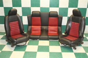 05 09 Mustang Shelby Gt500 Convertible Black Red Leather Pair Buckets Backseat