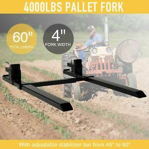 60 Pallet Fork 4000lb Capacity W Stabilizer Bar Clamp on Loader Bucket Tractor