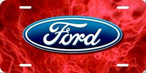 Ford Red Flames License Plate New Car Tag Metal Aluminum Usa