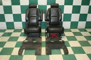 07 14 Escalade Swb Black Leather 2nd Second Row Captain s Chairs Carpet Seats