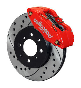 Wilwood 140 12996 Dr Forged Dpha Front Caliper And Rotor Kit Cross Drilled Red