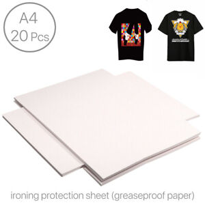 20x A4 Ironing Protection Paper Fabrics Heat Press Greaseproof Paper For T shirt