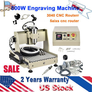 5axis 3040 Cnc Usb Router Engraving Machine Woodwork Cutter Control Box Vfd Us