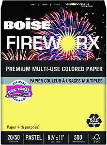 Boise Fireworx Colored Paper 20lb 8 1 2 X 11 Crackling Canary 500 Sheets ream