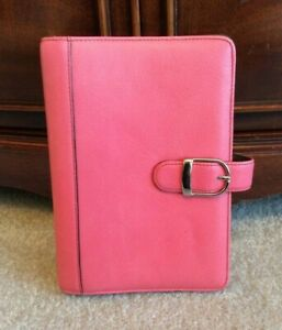 Day timer Compact portable 1 Pink Leather Snap Planner Binder Franklin Covey