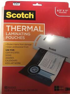 Lot Of 2 New Scotch Letter Size Thermal Laminating Pouches 65 Pack 8 5 X 11