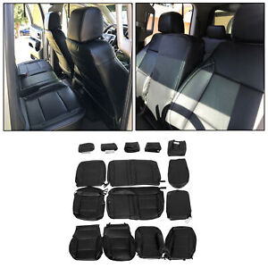 For 14 18 Chevrolet Silverado Lt Double Cab Black Leather Complete Seat Covers