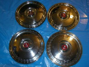 1955 Ford 15 Wheel Covers Set Of Four Used T Bird Fairlane Sunliner Vicky