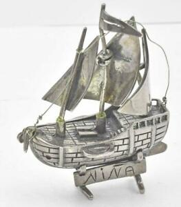 Vintage Sterling Silver Nina Ship Boat Desk Paperweight Item With Sails