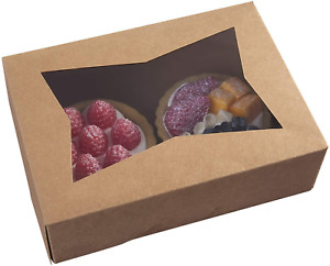 8 Inch Brown Cookie Boxes W Window For Muffins Pastry 8x5 75x2 5 Pack Of 15