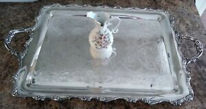 Vintage Silver Plated Huge Footed Butler S Tray Beautiful Floral Scrolling