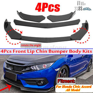 Carbon Fiber Front Bumper Lip Splitter Spoiler For Honda Civic 4dr Sedan 2013 15
