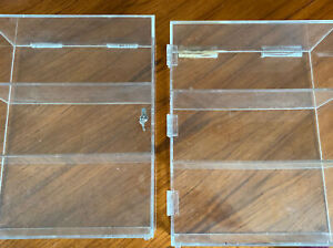 Pair Of 2 Shelf Acrylic Tower Display Cases 15x 6x18 Removable Shelves