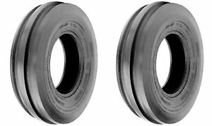 Two 7 50 16 7 50x16 Tri rib 3 Rib Tractor Tubeless Tires Heavy Duty 8ply Rated