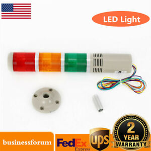 Red Green Yellow Led Stack Light Alarm Warning Signal Tower Lamp Ac 110v Usa