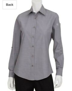 42 Chef Works Slwch002 Womens Chambray Shirt Gray Urban Collection New Medium M