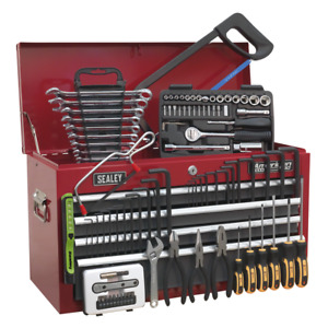 Toolbox Topchest 6 Drawer With Ball Bearing Slides Red Grey 98pce Toolkit