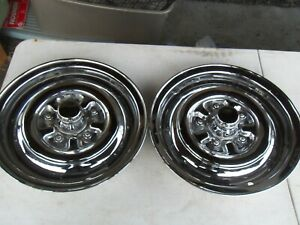 Rare Set Of 2 Vintage 15 Across Center Steel Chrome Hubcaps Simulated Lug Nuts