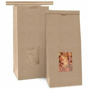 75 Pack Bakery Bags With Window 1 2 Lb 8 Oz Brown Kraft Paper Bag Tin Tie
