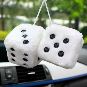 Car Hanging Fuzzy Plush Dice Craps Rear View Vehicle Decoration Charms Ornaments