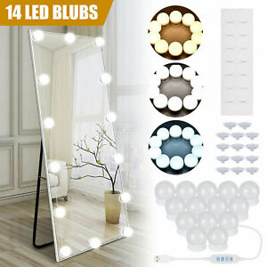 14 Bulbs Hollywood Style Led Vanity Dimmable Mirror Lamp Lights Kit For Makeup