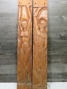 Pair Of Mid Century Hand Carved Wood Panels Columns Plaques Legs Nude Man Woman