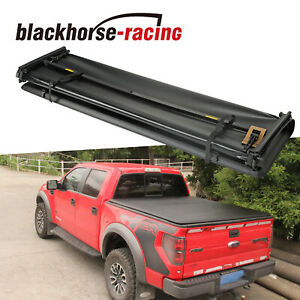 For 2015 2020 Ford F 150 F150 Truck 5 5ft Bed 4 Fold Black Soft Tonneau Cover