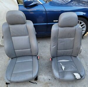 Bmw E46 Coupe Oem Grey Leather Front Seats Power Heated W Full Grey Cowhide