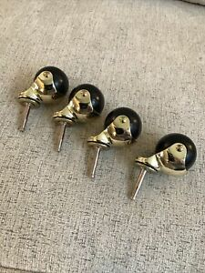 Vintage Lot Of 4 Ball Casters 2 Swivel Antique Gold Tone Hooded Metal