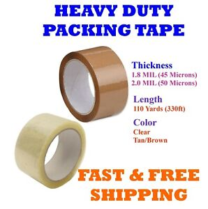 1 108 Rolls Clear Tan Packing Tape Packaging Cartons 2 3 X 110 Yards 330ft