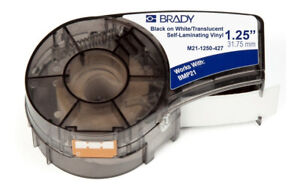 Brady M21 1250 427 Label Tape Cartridge Black On White Labels roll Continuous