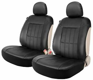 Auto Low Back 2 Front Seat Covers Set Leather Protector For Car Truck Suv Black