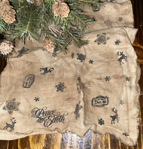 Grungy Christmas Primitive Gathering Table Cloth Ice Mat Snowflake Tree