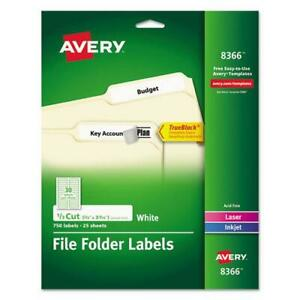 Permanent Trueblock File Folder Labels With Sure Feed Technology 0 66 X 3