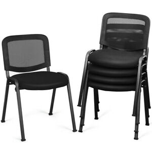 Gymax Set Of 5 Conference Chair Mesh Back Office Waiting Room Guest Reception