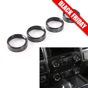 4pcs Air Conditioner Audio Switch Knob Ring Cover Trim For Ford F150 2016 2018 A